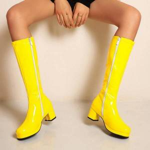 DHgate women's knee high boots patent leather round toe customize plus size med heels shoes b191