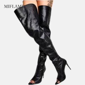 DHgate winner women variety snakeskin thigh high boots over the knee leather boots peep toe slio on thin high heels long