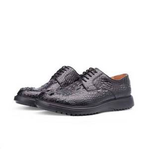 DHgate piliyuan crocodile leather men shoes male handmade shoes male business leisure lace-up round head men formal