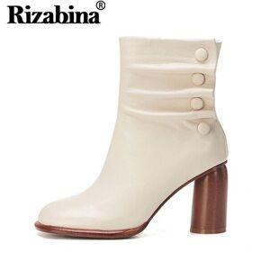 DHgate rizabina women special short boots warm fur zipper square toe winter boots fashion round heels pleat button footwear size 34-43