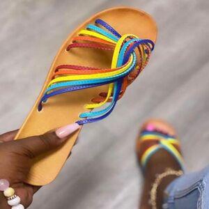 DHgate 2021 summer female sandals fashion lace up flat sandal non-slip wild cute beads flower casual band ladies sandalias de mujer