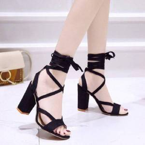 DHgate european and american large size women's shoes 2021 summer new high-heeled thick strap sandals fashion wild women's sandals