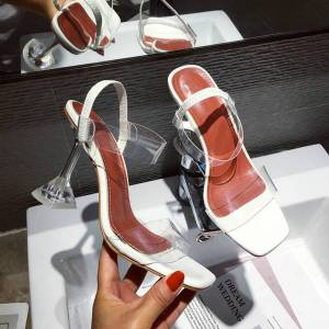 DHgate yellow white you jelly crystal sandals open-toed perspex spike high transparent heels slippers 9cm pumpsb87 5ric