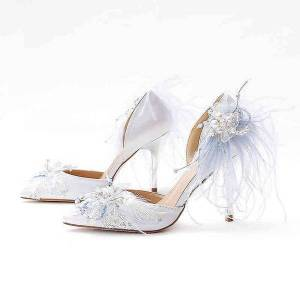 DHgate sandals summer hollow pointed rhinestone lace girl light blue feather bridal wedding shoes elegant banquet wild sandals