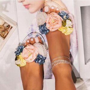 DHgate women fashion flower elegant ladies jelly shoes women's comfortable casual slippers female peep toe open flat