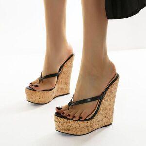 DHgate 15cm super high heels large size 35-42 platform wedges pinch slippers mules shoes women sandals