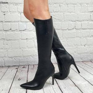 DHgate boots olomm handmade women knee high side zipper stiletto heel pointed toe black casual shoes plus us size 5-15