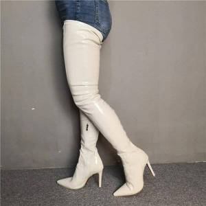 DHgate boots women thigh high stiletto heels nice pointed toe gorgeous beige shoes plus us size 5-15