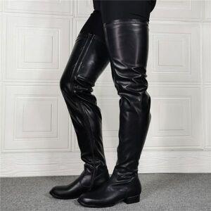 DHgate boots winter long women luxury motorcycle punk knee high over flat black genuine leather botas feminina big size15