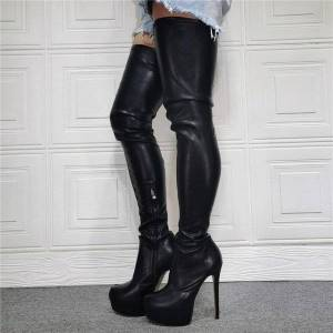 DHgate boots ladies runway platform thigh high heel stilettos faux stretch leather women over the knee boot size15 f262
