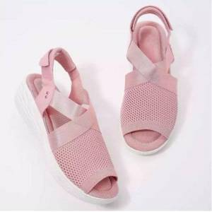 DHgate summer fashion casual ladies pure color knitted mesh adjustable slope heel comfortable sandalias mujer sandals