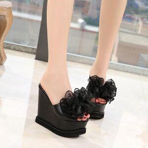 DHgate super high women's shoes stage nightclub catwalk heels summer 15cm sponge cake slippers flower