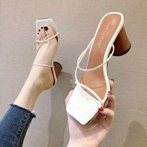 DHgate sandals women woman thin heels summer female fashion square toe high ladies elegant slides narrow band shoes 6det