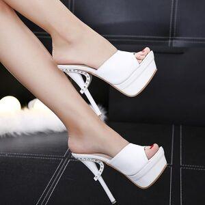 DHgate platform women slippers shoes thin heel ultra high heels 15cm nightclub diamond open toe sandals slipper female