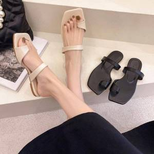DHgate flat sandals and slippers for women to wear 2021 summer net red ins tide simple set toe casual beach shoes
