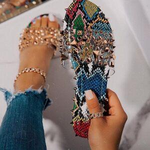 DHgate women's summer flat slippers fashion roman style rivets snakeskin outdoor woman wild beach 35-43