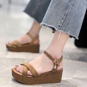 DHgate sandals women wedges platform 5.5cm increase high heels buckle strap flock anti-slip sandalias fashion summer roman shoes 7rf2