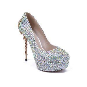 DHgate dress shoes women pumps wedding metal europe and america 15cm thin high heels bling rhinestone