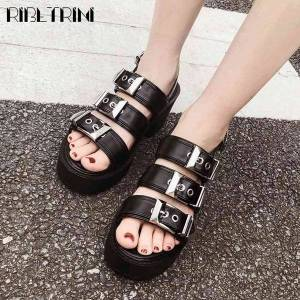 DHgate sandals punk girl open toe buckle starp chunky heel shoes summer women classic beach casual sandals