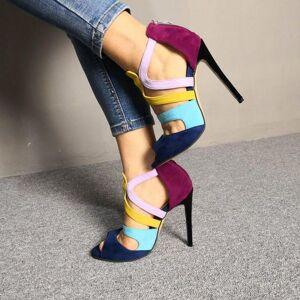 DHgate olomm fashion women sandals stiletto high heel open toe charm multi color dress shoes us plus size 5-15