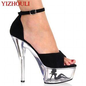 DHgate women heels stilettos female sandals 15cm super high waterproof taiwan show catwalk shows nightclub dance shoes dress