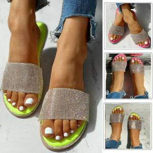 DHgate slippers women sandals ladies bling crystal roman flat casual beach indoor&outdoor slipper shoes m140#