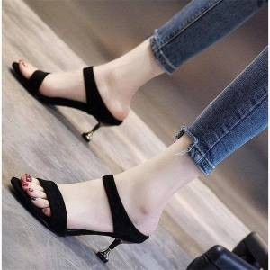 DHgate new summer womens slippers 2021 solid color suede fine fine with simple open-toe wild fashion shoes
