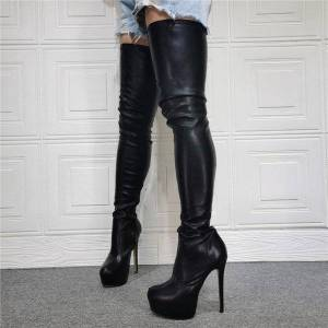 DHgate boots overknee women thigh high platform stiletto heels pointed toe super leather party shoes us size 5-15