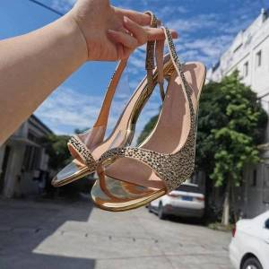 DHgate sandals olomm feminine handmade sandals beautiful strass 7.5cm open-heel toe club gold wear women's shoes and more size 5-15 1lt2