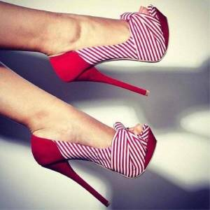 DHgate shoes,brilliant fashion women's shoes, striped cloth, about 15 cm high heels, peep toe pumps.size: 34-45 dress shoes