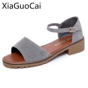 DHgate fashion peep toe summer women hoof heels sandals nubuck leather cover heel rome shoes for female c238 15