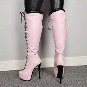 DHgate boots ol omm female platform on the knee stiletto high heels round toe pink party shoes plus me size 5-15 bs1a
