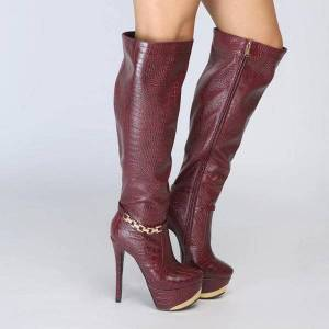 DHgate boots female botas knee high stiletto heel snake skin wine red round toe ladies long women shoes us size 4-15