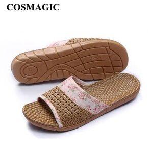 DHgate women home indoor slipper casual soft bedroom bathroom print floor cane men slippers non-slip shoe