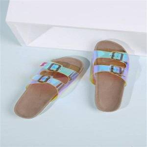 DHgate women's shoes summer cork transparent slippers buckle flat sandals beach fashionable wild casual style personality