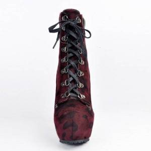 DHgate boots olomm woman winter platform ankle boots stilettos high heels toe round office red wine women's shoes plus me size 4-15 u7b1