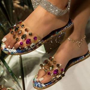 DHgate 2021slides women flip flops shoes slippers rhinestones sandals ladies slide wild diamond slipper mujer summer
