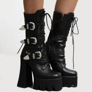 DHgate boots gigifox 2021 large size 43 quality 15cm extreme high heels shoelaces winter women shoes platform motorcycles female