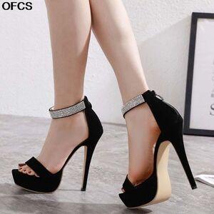 DHgate women summer high heels sandals 15cm heel platform zip crystal peep toe slides black zapatos mujer hollow pumps shoes