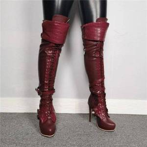 DHgate boots female platform over the knee long stiletto high heels round toe wine red party shoes women plus us size 5-15