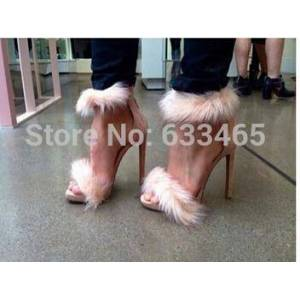 DHgate 2020 new arrival and slae women's fashion high heels sandals pumps with fur