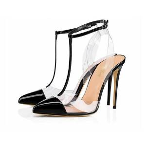 DHgate 2019ss new black slingback pvc t-strap patent leather heels 12cm women lady pointed toe party high heeled wedding shoes