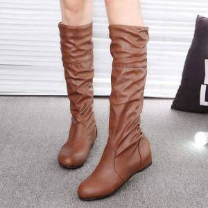 DHgate autumn winter long boots women height increasing knee boots female slip on pleated round toe leather plus size 43