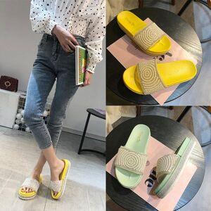 DHgate slippers women wear 2020 new summer ins super fire korean pearl rhinestone h cool mop net red wild flip flops