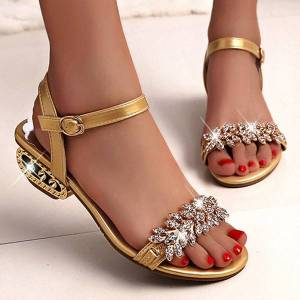 DHgate european and american new women's sandals open toe leather sandals elegant crystal women's summer shoes c162