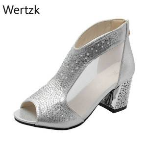 DHgate 2020 new mesh peep toe sandals summer heels single shoes women shoes in europe and 2020 spring and summer gauze