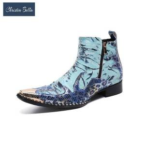 DHgate christia bella printing zipper men ankle boots fashion autumn winter genuine leather metal pointed toe formal boots