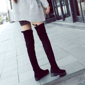 DHgate botte femme hiver 2020 flock shoes black botas women new thigh high boots female winter boots women over the knee