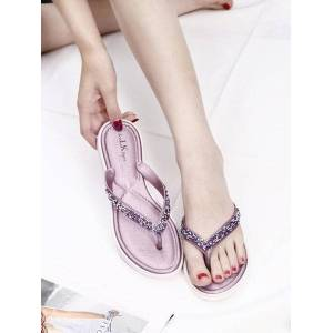 DHgate 2020 summer new flip flops women wear wild fashion sequins korean flat bottom non-slip pincers slippers ins tide