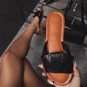 DHgate summer women sandals fashion snake skin wild outdoor women slides large size simple light and comfortable women's shoes
